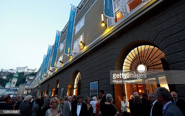 The festival hall is illuminated on August 22 2010 in Salzburg Austria Salzburg birthplace of composer Wolfgang Amadeus Mozart is the fourthlargest...