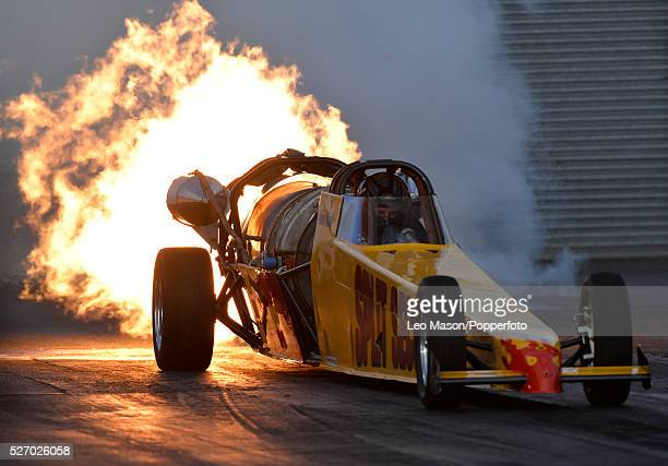 The Festival of Power drag racing meet at Santa Pod Raceway Northampton UK Split Second Jet Car during Day One qualifying
