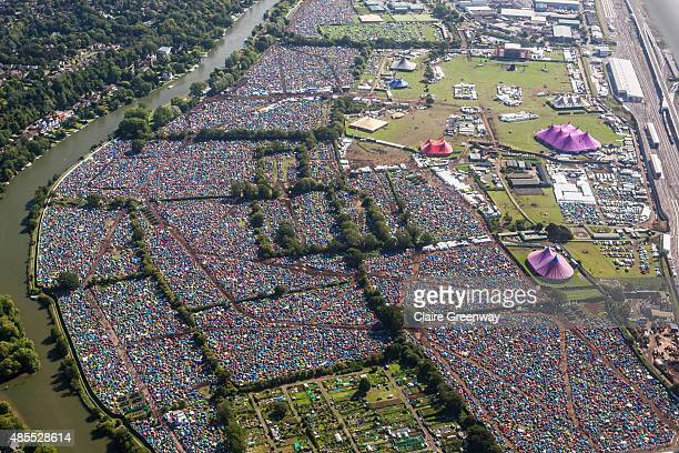 The festival site is viewed from the air next to the River Thames on Day 1 of The Reading Festival at Richfield Avenue on August 28, 2015 in Reading,...