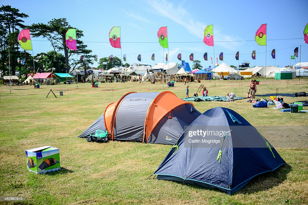 The festival site on the first day of Camp Bestival at Lulworth Castle on July 31, 2014 in Wareham, United Kingdom.
