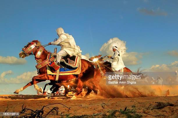 The festive horse-riding at wedding ceremony near of Tripoli city, Libya .