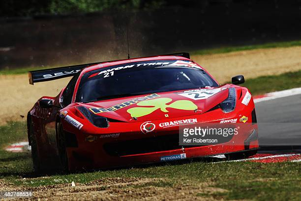 The FF Corse Ferrari 458 Italia of Hector Lester and Benny Simonsen drives during the British GT Championship race at Brands Hatch on August 2, 2015...