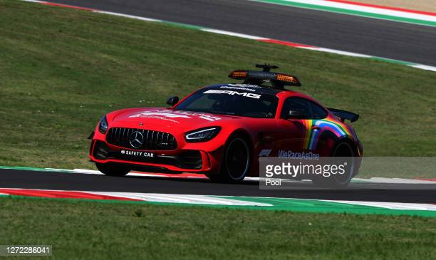 The FIA Safety Car leads the field during the F1 Grand Prix of Tuscany at Mugello Circuit on September 13 2020 in Scarperia Italy