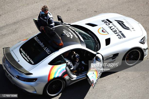 The FIA Safety car waits on the grid prior to the F1 Grand Prix of Russia at Sochi Autodrom on September 27 2020 in Sochi Russia