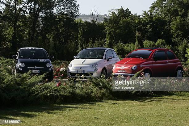 The Fiat 500 Différents modèles et coloris de la nouvelle FIAT 500 version noire au milieu de la végétation à BARELLO près de Turin