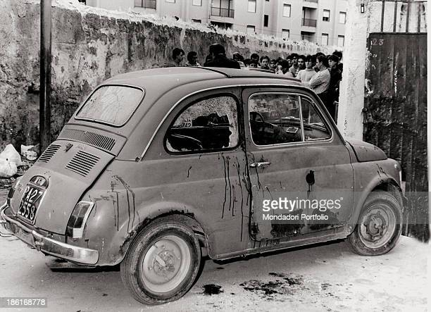 The Fiat 500 on which Italian mafioso and informant Leonardo Vitali was travelling before being killed in a Mafia attack Palermo 2nd December 1984