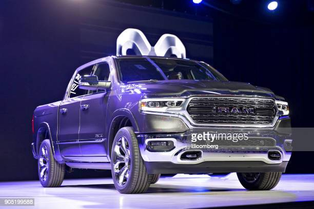 The Fiat Chrysler Automobiles NV 2019 Dodge Ram 1500 Limited pickup truck is unveiled during the 2018 North American International Auto Show in...