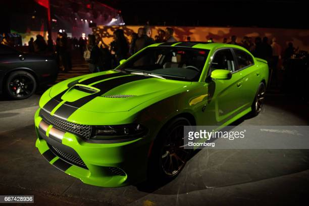 The Fiat Chrysler Automobiles NV Dodge Charger Hellcat stands on display during an event ahead of the 2017 New York International Auto Show in New...