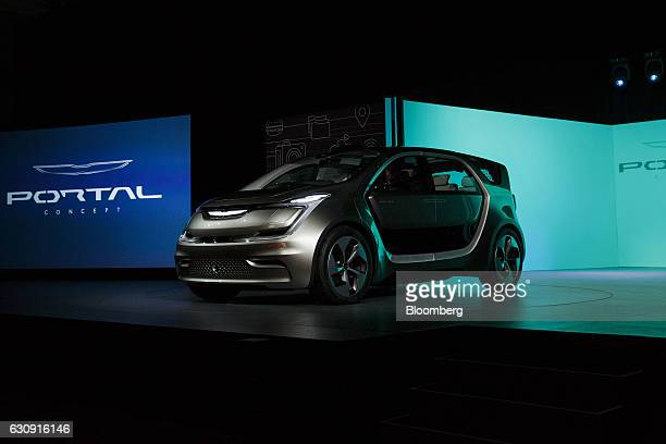 The Fiat Chrysler Automobiles NV Portal concept minivan vehicle is unveiled during the 2017 Consumer Electronics Show in Las Vegas Nevada US on...