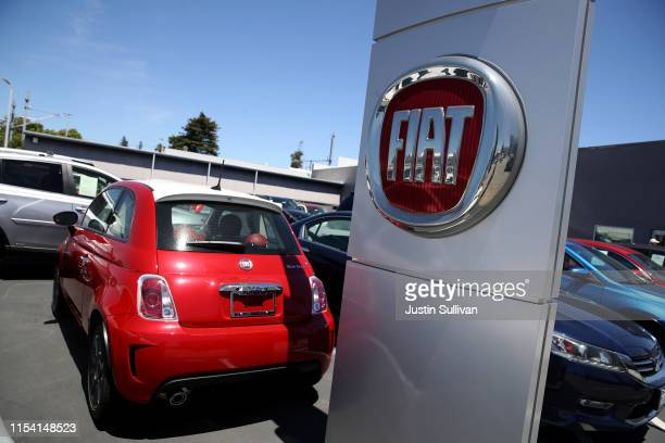 The Fiat logo is displayed on a car at a Fiat dealership on June 06 2019 in Burlingame California Fiat Chrysler announced that it has withdrawn a...