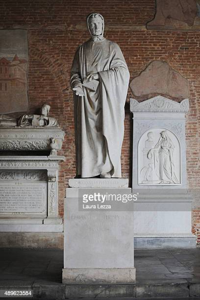 The Fibonacci statue is seen at the Camposanto on September 23 2015 in Pisa Italy A Fibonacci sequence has been discovered on the marble intarsi...
