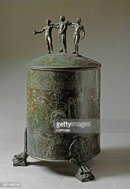 The Ficoroni cista a small toiletaries or jewelry box engraved on bronze with the episodes of the myth of the Argonauts Its dedicatory inscription...