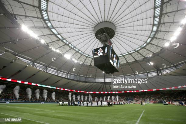The field at BC Place Stadium as the teams are introduced as the Vancouver Whitecaps play the Los Angeles FC at BC Place on April 17, 2019 in...