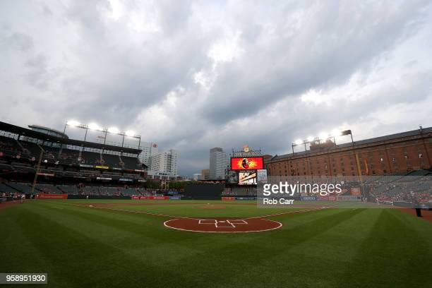 The field at Oriole Park at Camden Yards is shown during a rain delay of the Baltimore Orioles and Philadelphia Phillies game on May 15 2018 in...