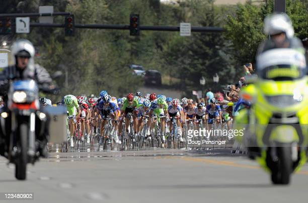 The field begins to sprint for the line at the finish of stage four of the 2011 USA Pro Cycling Challenge from Avon to Steamboat Springs on August 26...