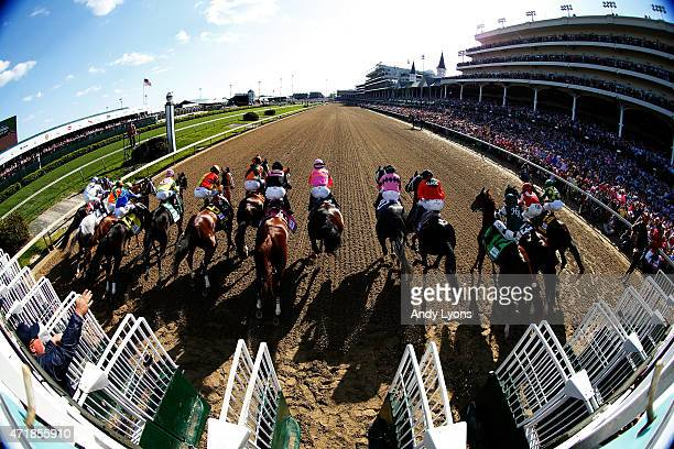 The field breakes from the gate to start the 141st running of the Kentucky Oaks at Churchill Downs at Churchill Downs on May 1 2015 in Louisville...