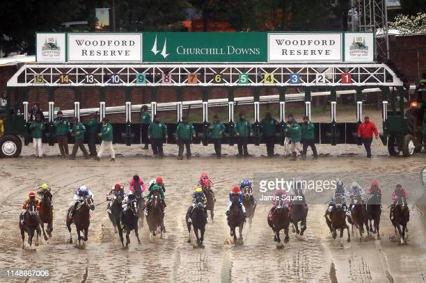 The field breaks from the gate at the start of the 145th running of the Kentucky Derby at Churchill Downs on May 04 2019 in Louisville Kentucky
