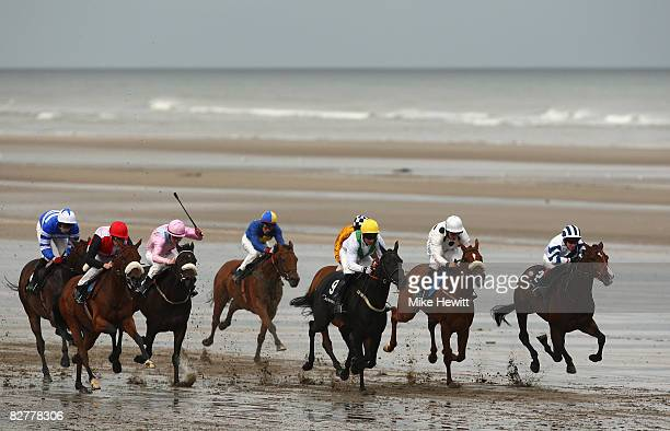 The field charge down the course in the third race at the Laytown beach racetrack on September 11 2008 in Laytown Ireland