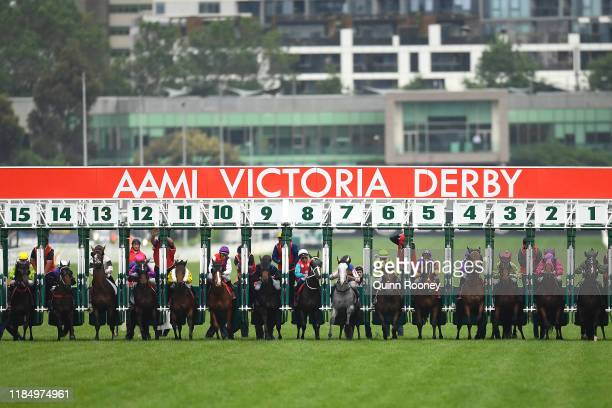 The field comes out of the barriers in the AAMI Victoria Derby during 2019 Derby Day at Flemington Racecourse on November 02, 2019 in Melbourne,...