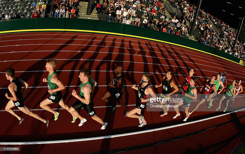 The field competes in the Men's 5,000 meter run final on day two of the USA Outdoor Track & Field Championships at the Hayward Field on June 24, 2011 in Eugene, Oregon.
