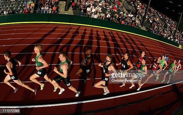 The field competes in the Men's 5,000 meter run final on day two of the USA Outdoor Track & Field Championships at the Hayward Field on June 24, 2011...