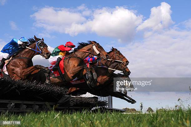 The field in Race 4 the Grand National Hurdle jump the hurdle together during Grand National Day at Sandown Lakeside on August 7 2016 in Melbourne...