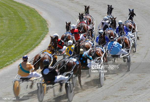 The field in race one Metropol Mobile Pace head for the finish during Lindauer Family Race Day at Addington Raceway on November 12 2010 in...