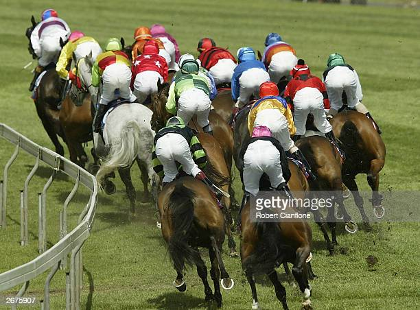 The field in race six makes its way round the bend during the 2003 Werribee Cup at the Werribbee Racing Club on October 29, 2003 in Melbourne,...