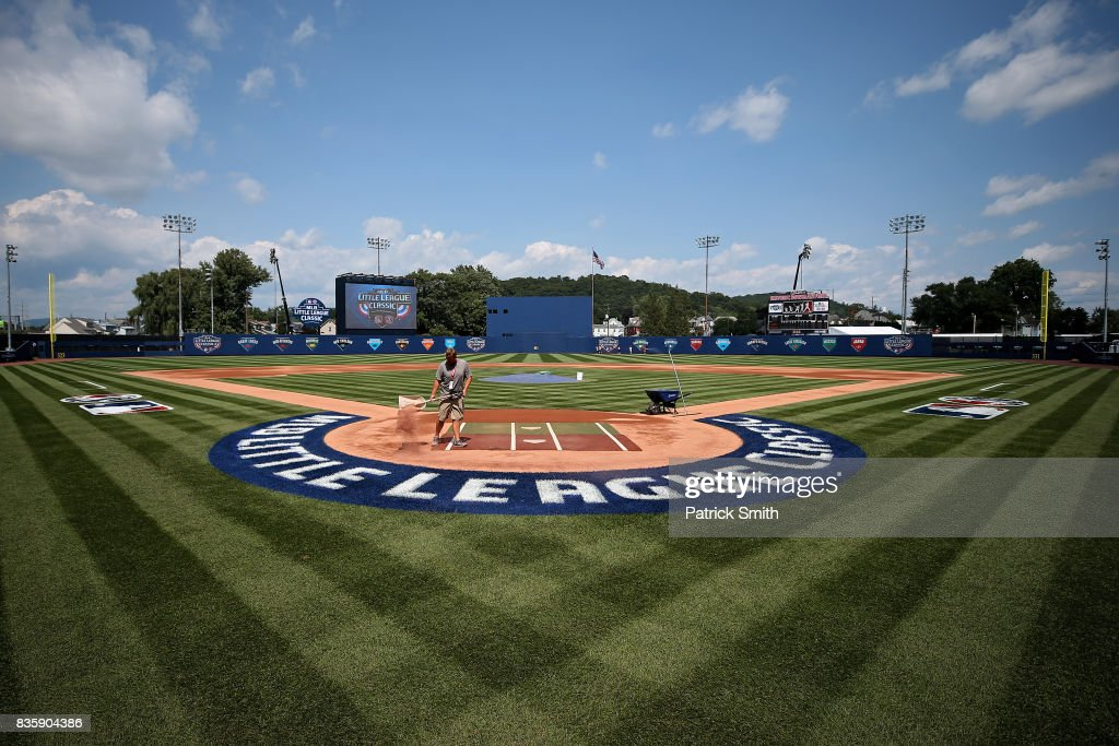 The field is prepared before the St. Louis Cardinals play the Pittsburgh Pirates in the inaugural MLB Little League Classic at BB&T Ballpark at Historic Bowman Field on August 20, 2017 in Williamsport, Pennsylvania.