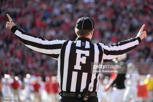 The Field Judge signals during the game between the Nebraska Cornhuskers and the Indiana Hoosiers at Memorial Stadium on October 26, 2019 in Lincoln,...
