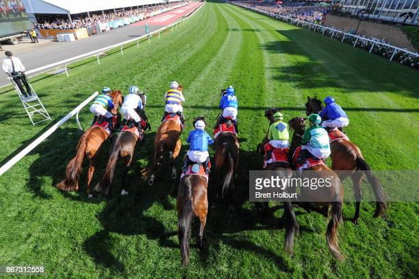 The field jumps from the barrier at the start of Ladbrokes Cox Plate won by Winx at Moonee Valley Racecourse on October 28 2017 in Moonee Ponds...