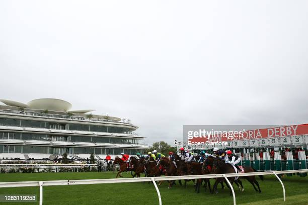 The field jumps out of the barriers at the start of race seven the Aami Victoria Derby during 2020 AAMI Victoria Derby Day at Flemington Racecourse...