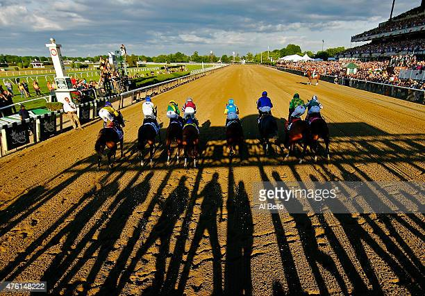 The field leaves the starting gate at the beginning of the 147th running of the Belmont Stakes at Belmont Park on June 6 2015 in Elmont New York