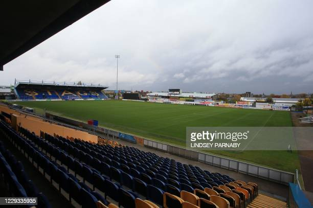 The Field Mill stadium, home to Mansfield Town FC in Mansfield, northern England on October 26, 2020. - Football clubs outside the Premier League...