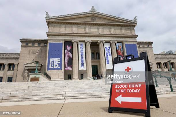 The Field Museum of Natural History hosts an American Red Cross blood drive on May 11, 2020 in Chicago, Illinois. In order to maintain social...