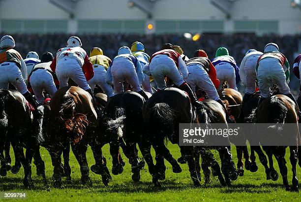 The field of horses go round for the first time during the Letheby and Christopher Supreme Novices Hurdle Race at Cheltenham Racecourse on March 16...