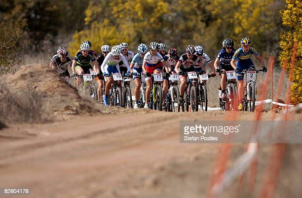 The field of the Woman's CrossCountry Olympic race during day one of the MTB World Cup held at Mount Stromlo August 30 2008 in Canberra Australia