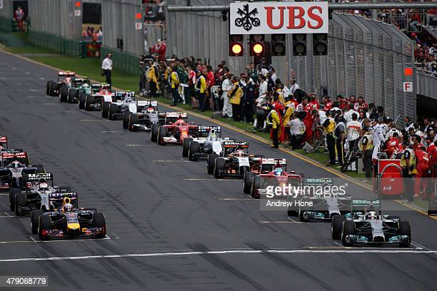 The field prepares to start the warm up lap before the Australian Formula One Grand Prix at Albert Park on March 16 2014 in Melbourne Australia