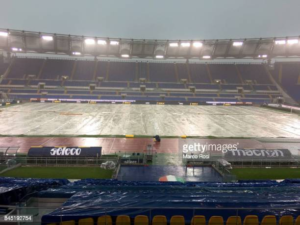 The field protected by the tarpaulin for the strong rain before the Serie A match between SS Lazio and AC Milan at Stadio Olimpico on September 10...