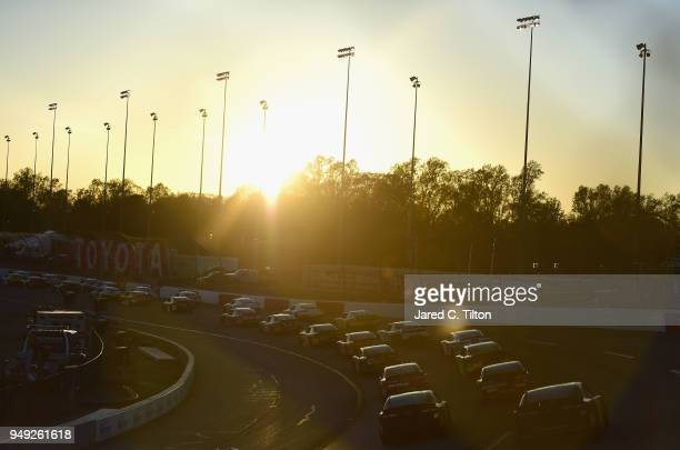 The field races during the NASCAR Xfinity Series ToyotaCare 250 at Richmond Raceway on April 20 2018 in Richmond Virginia