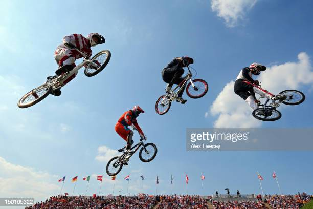 The field races in the Men's BMX Cycling Semi Finals on Day 14 of the London 2012 Olympic Games at the BMX Track on August 10, 2012 in London,...