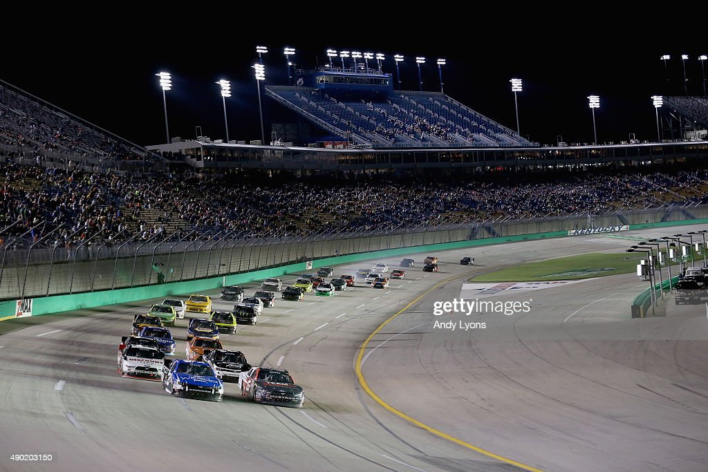 the field restarts the race after caution in the the nascar xfinity series visitmyrtlebeach com