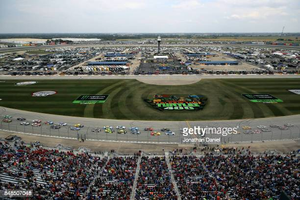 The field takes the green flag to start the Monster Energy NASCAR Cup Series Tales of the Turtles 400 at Chicagoland Speedway on September 17 2017 in...