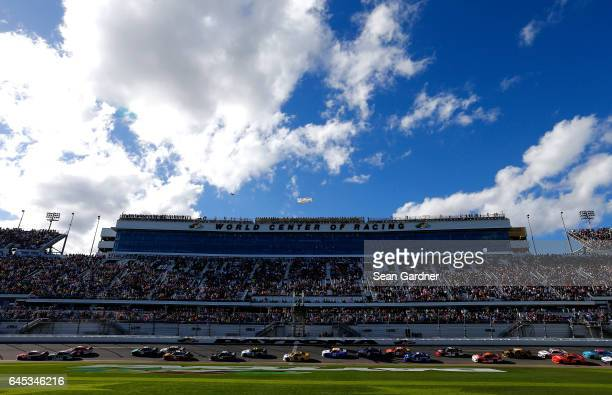 The field takes the Green Flag to start the the NASCAR XFINITY Series PowerShares QQQ 300 at Daytona International Speedway on February 25 2017 in...