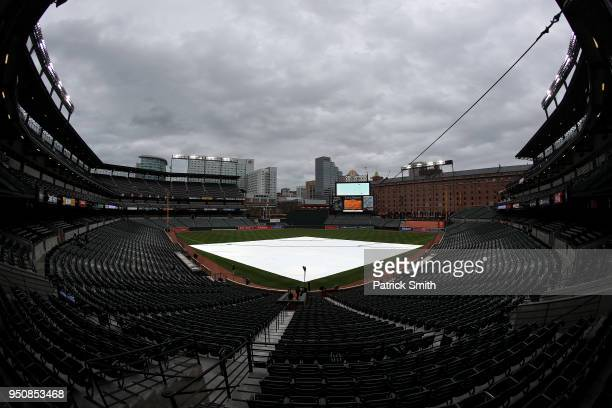 The field tarp is seen on the field before the Tampa Bay Rays play the Baltimore Orioles at Oriole Park at Camden Yards on April 24 2018 in Baltimore...