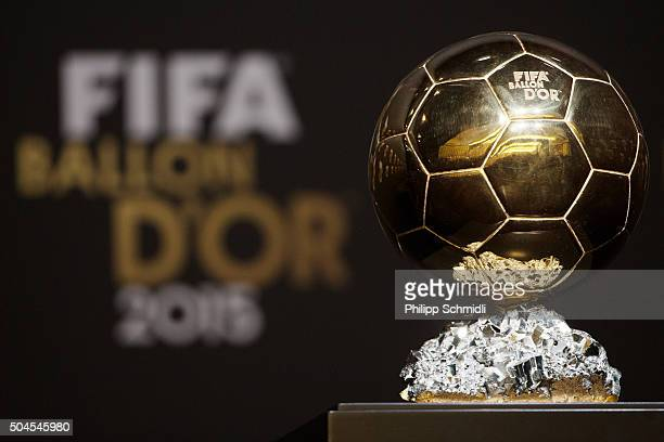 The FIFA Ballon d'Or is on display prior to the FIFA Ballon d'Or Gala 2015 at the Kongresshaus on January 11 2016 in Zurich Switzerland