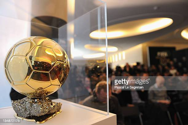 The FIFA Ballon D'Or trophy is seen during the FIFA Ballon D'Or Press conference on December 5, 2011 in Paris, France.