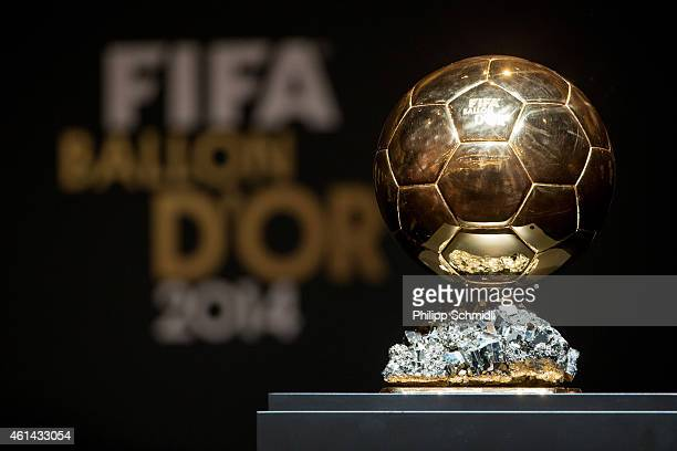 The FIFA Ballon d'Or trophy on display during a press conference prior to the FIFA Ballon d'Or Gala 2014 at the Kongresshaus on January 12, 2015 in...