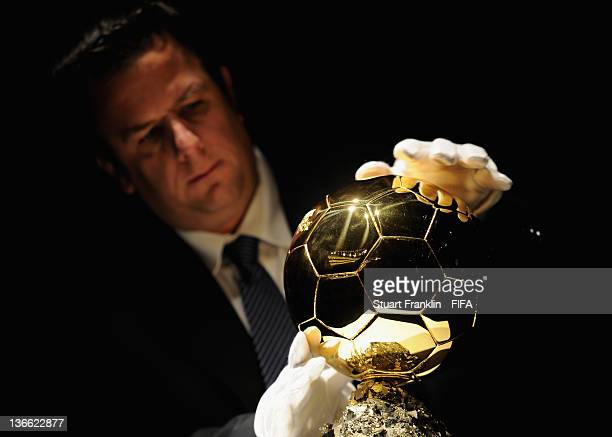 The FIFA Ballon d'Or trophy on display during the FIFA Ballon d'Or Gala 2011 at the Kongresshaus on January 09 2012 in Zurich Switzerland