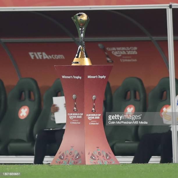 The FIFA Club World Cup Trophy before the FIFA Club World Cup Qatar Final on February 11, 2021 in Doha, Qatar.